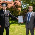 Essex Police Chief Constable Ben-Julian Harrington with Ashley Stowell and the Commendation