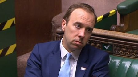 Matt Hancock in the House of Commons heckles Keir Starmer during PMQs. Photograph: Parliament TV.
