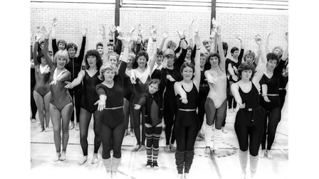 A keep-fit rally at Hadleigh High School in May 1983