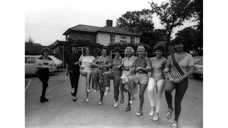 A ladies' keep-fit workout at The Swan, Westerfield, in September 1986