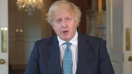 Boris Johnson giving a statement in Downing Street. Photograph: 10 Downing Street/PA Wire.