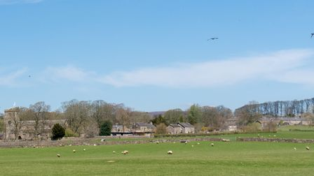 The view of Slaidburn from the banks of the Hodder