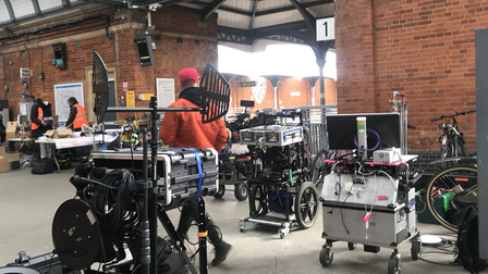 Film crew at a Greater Anglia station