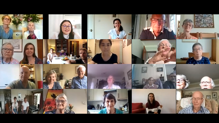 People taking part in an online video session from their own homes, Essex