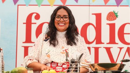 Shelina Permalloo, Masterchef winner 2012, cooking at the Foodies Festival