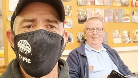 Simon 'Spike' Crowson and Adrian Casey at Salvation Army Centre Wisbech