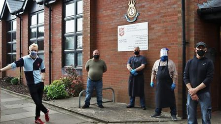 Volunteers outside the Salvation Army in Wisbech as part of 50/50 Vision
