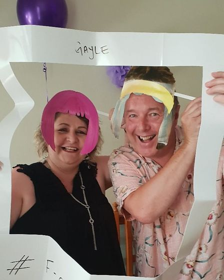 """Gayle and GeorgeLangley celebrate Mrs Langley being in remissionwith an '""""F-off to Cancer"""" party."""