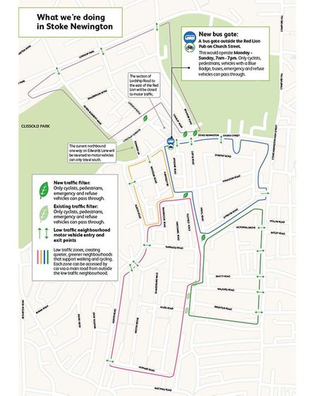 A map of the plans for Stoke Newington low traffic neighbourhood