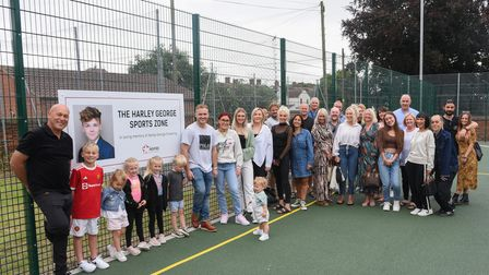 Friends and family at the new Harley George Sports Zone at Colville House in Lowestoft which has bee