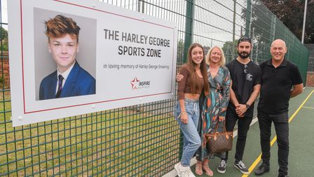 Chili Tozer, Karen Snowling, Jack Taylor and Harvey Snowling in the newly unveiled Harley George Spo