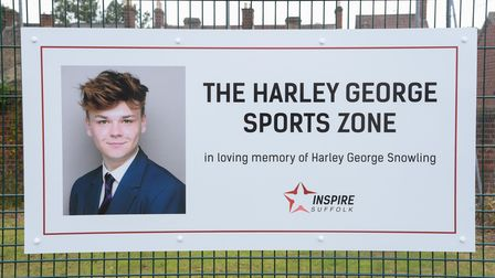 The Harley George Sports Zone unveiled at Colville House, Lowestoft, in memory of Harley who took hi