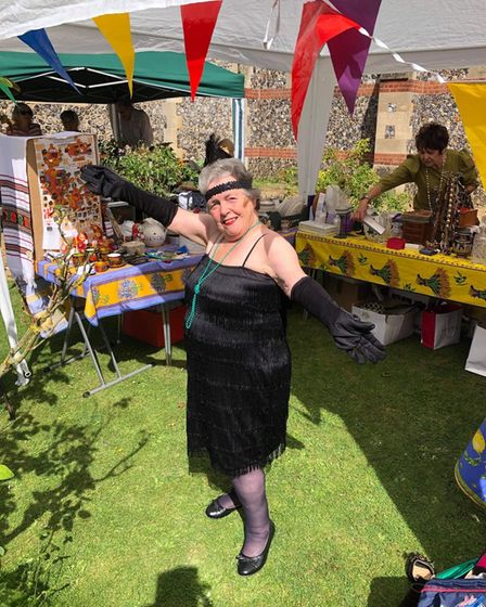 Sue Short won the fancy dress competition at the church fete