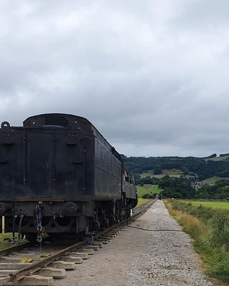 The engine has a fine view of the Peak District landscape