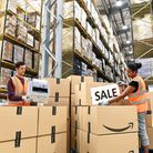 Staff at the Amazon Fulfilment Centre in Peterborough. Photograph: Doug Peters/PA.