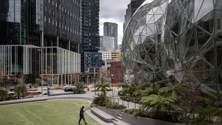 The Amazon headquarters sits virtually empty in March 2020 in downtown Seattle, Washington (Photo by