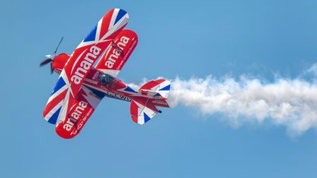 Rich Goodwin and the Muscle Bi-Plane at the Weston Air Festival and Armed Forces Weekend. Picture: W