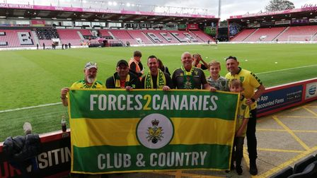 The Forces2Canaries supporters club pictured at a previous away game at Bournemouth.