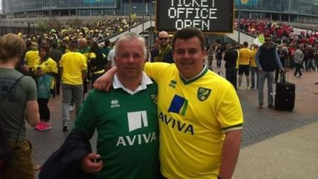 Will Pummell pictured with his Dad at the 2015 play-off final at Wembley Stadium