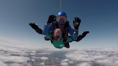 81-year-old Steyning resident Ray Shaw skydiving in Salisbury