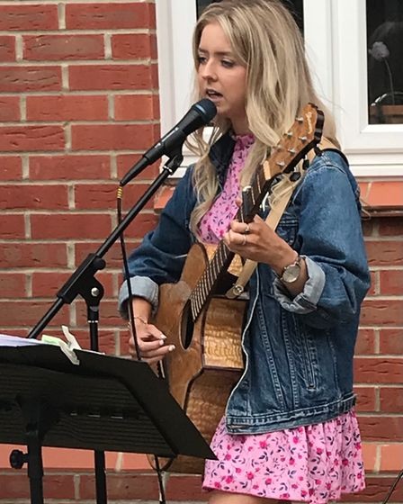 Lucy Shaw at the garden party fundraiser in Therfield