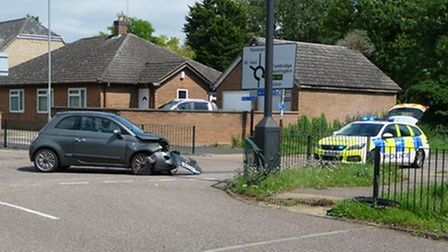 Two-car crash in Hemingford Grey on Wednesday (August 18) -but luckily no one was seriously injured.