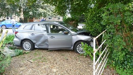 Two-car crash in Hemingford Grey -but luckily no one was seriously injured.