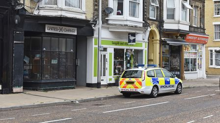 Just one police car remained at the scene on London Road South on Friday teatime (August 20).