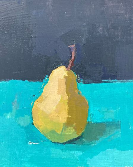 Standing Pear, by Sarah Spackman, 2021, oil on board