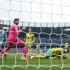 Norwich City goal keeper Tim Krul scores an own goal in the 5-0 Premier League defeat to Manchester City