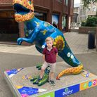 A three-year-old who was enjoying Break's GoGoDiscover T-Rex trail in Norwich with his father on Saturday in Norwich