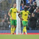 Ben Gibson of Norwich and Bali Mumba of Norwich look dejected after their side concedes itÕs 4th goa