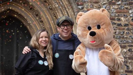 It's OK To Say founder Stacey Turner with patron Bob Golding and the charity's mascot.
