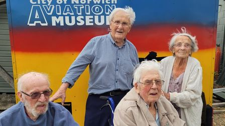 Ex-servicemen from The Warren Care Home in Sprowston enjoying a trip to the City of Norwich Aviation Museum