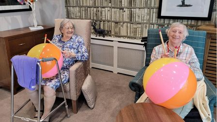 Beach ball drumming fun at The Warren Care Home in Wroxham Road