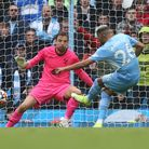 Riyad Mahrez sends Tim Krul the wrong way to seal Manchester City's 5-0 rout of Norwich City