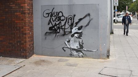 The Banksy artworkon thecorner of London Road North and Regent Road in Lowestoft.