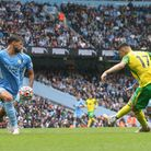 Milot Rashica tries his luck for Norwich City in the closing stages at Manchester City