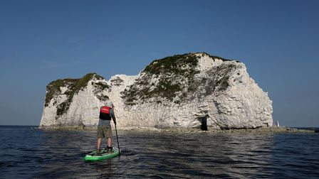 Paddling out to Old Harry Rocks on a day of excellent weather conditions