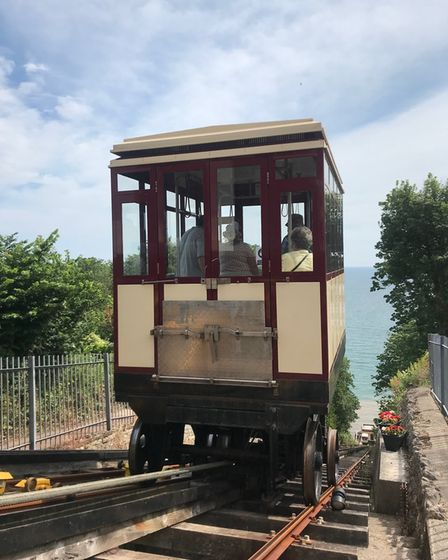 The cliff railway taking you down to the beach.
