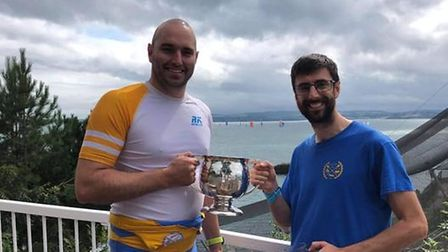 Rob Harris,left, and Mike Lister of Paignton, winners of the men's open pairs.