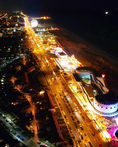 Great Yarmouth seafront at night.