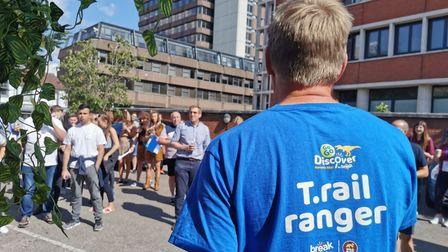 Break hosting a sponsors challenge for the GoGoDiscover T-Rex trail in Norwich