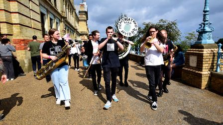 The Heavy Beat Brass Band on the terrace at StrEATlife Ally Pally.