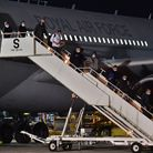 A plane lands at RAF Brize Norton, Oxfordshsire, carrying British nationals and Afghans from Kabal i