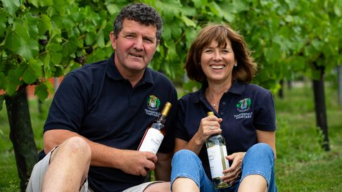 Jane and Peter Moore from Toppesfield Vineyard