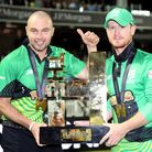Southern Brave's Jake Lintott and Alex Davies lift the Hundred trophy after the men's Final at Lord's