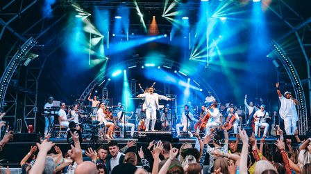 The Urban Soul Orchestra on stageat the Hatfield House Classic Ibiza concert.