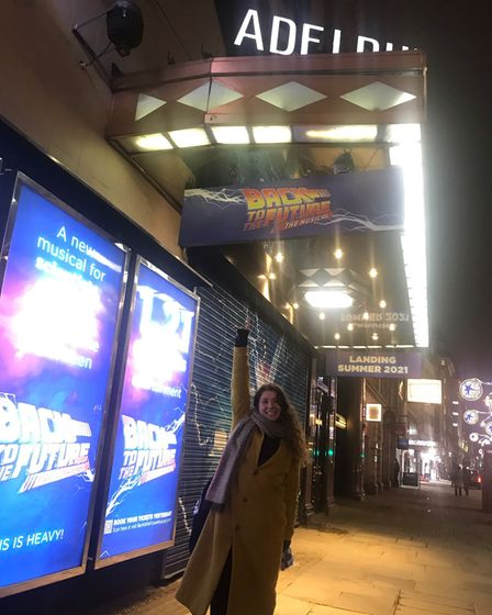 Nic Myers outside the Adelphi Theatre in London