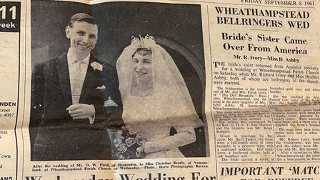 A newspaper cutting from the Harpenden Free Press about the wedding ofWheathampstead couple Christine and Don Field.